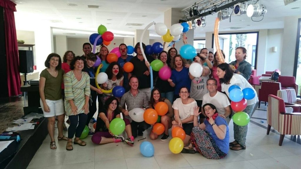 teachers playing with balloons
