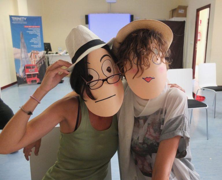 teachers wearing paper masks